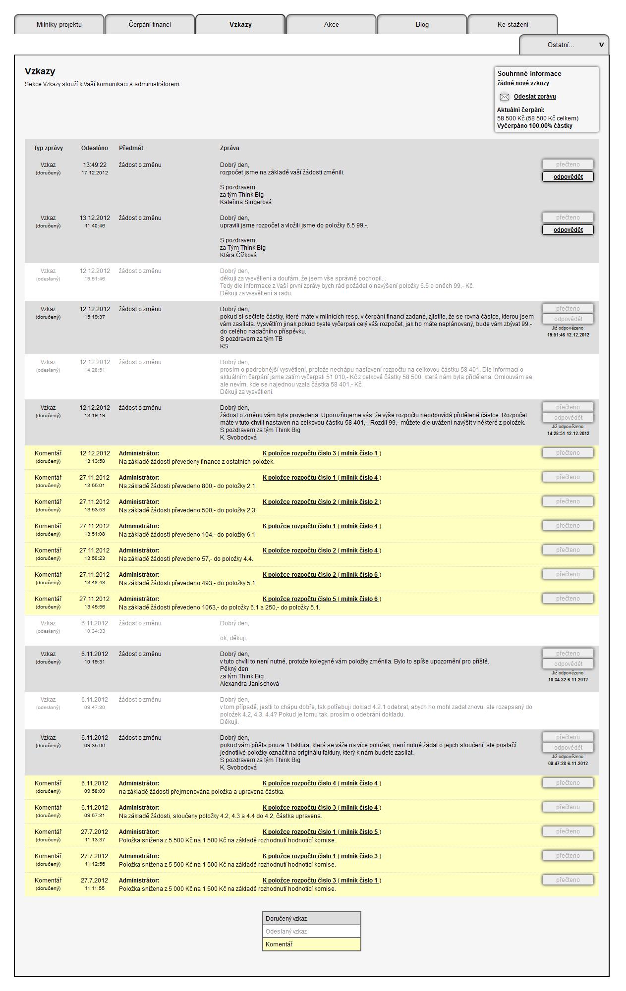 O2 web system vzkazy